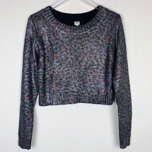 NWT Uniq Nasty Gal Coated Rainbow Leopard Sweater